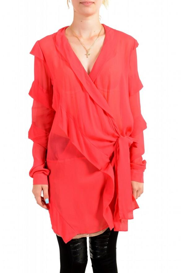 Just Cavalli Women's Red See Through 100% Silk Wrap Around Blouse Top