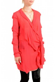 Just Cavalli Women's Red See Through 100% Silk Wrap Around Blouse Top : Picture 2