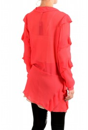 Just Cavalli Women's Red See Through 100% Silk Wrap Around Blouse Top : Picture 3