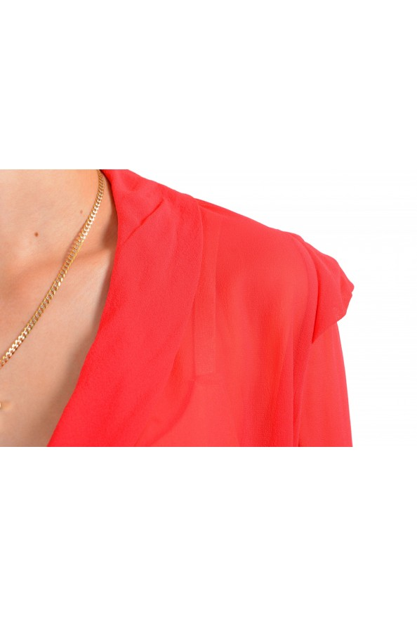 Just Cavalli Women's Red See Through 100% Silk Wrap Around Blouse Top : Picture 4