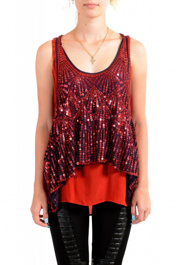 Just Cavalli Women's Red Sequin Embellished Blouse Top
