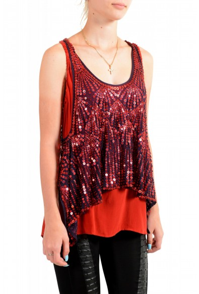 Just Cavalli Women's Red Sequin Embellished Blouse Top: Picture 2
