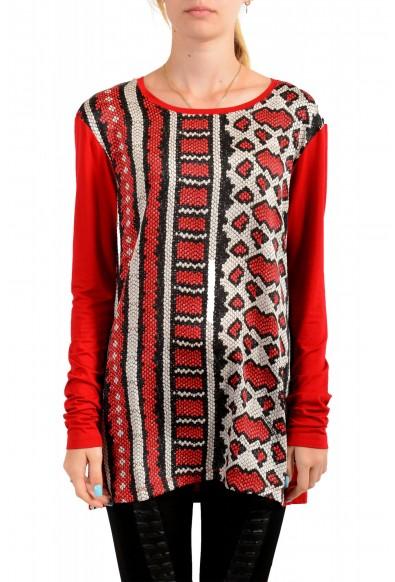 Just Cavalli Women's Animal Print Crewneck Long Sleeve Blouse Top
