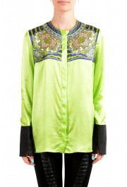 Just Cavalli Women's Multi-Color 100% Silk Long Sleeve Blouse Top