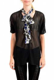 Just Cavalli Women's Black See Through Scarf Decorated Blouse Top