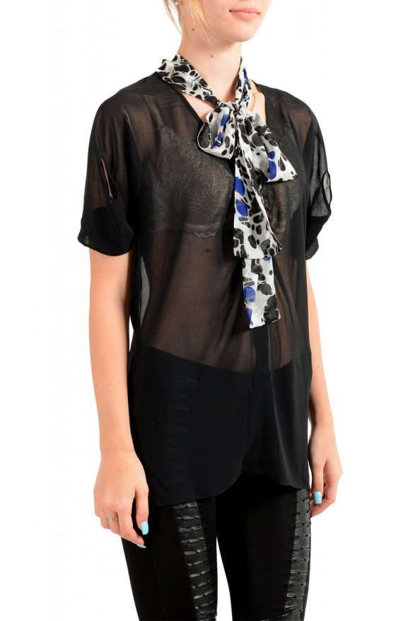 Just Cavalli Women's Black See Through Scarf Decorated Blouse Top : Picture 2