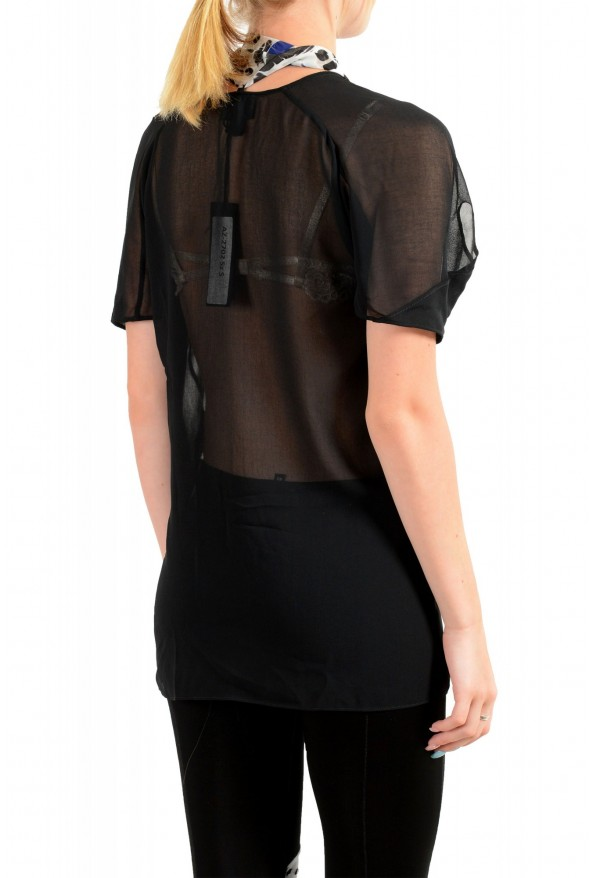 Just Cavalli Women's Black See Through Scarf Decorated Blouse Top : Picture 3