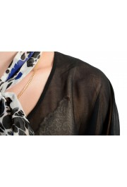 Just Cavalli Women's Black See Through Scarf Decorated Blouse Top : Picture 4