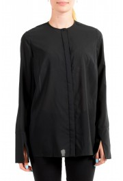 Just Cavalli Women's Black See Through Long Sleeve Blouse Top