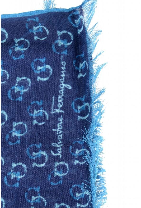 Salvatore Ferragamo Blue Logo Print Shawl Scarf: Picture 2