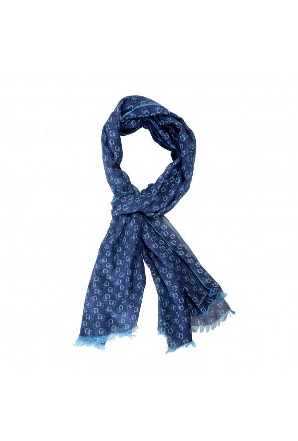 Salvatore Ferragamo Blue Logo Print Shawl Scarf: Picture 5