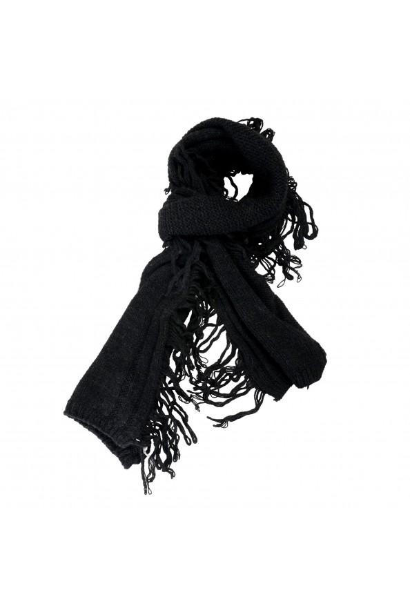 Sferra Unisex Black Alpaca Wool Fringed Scarf