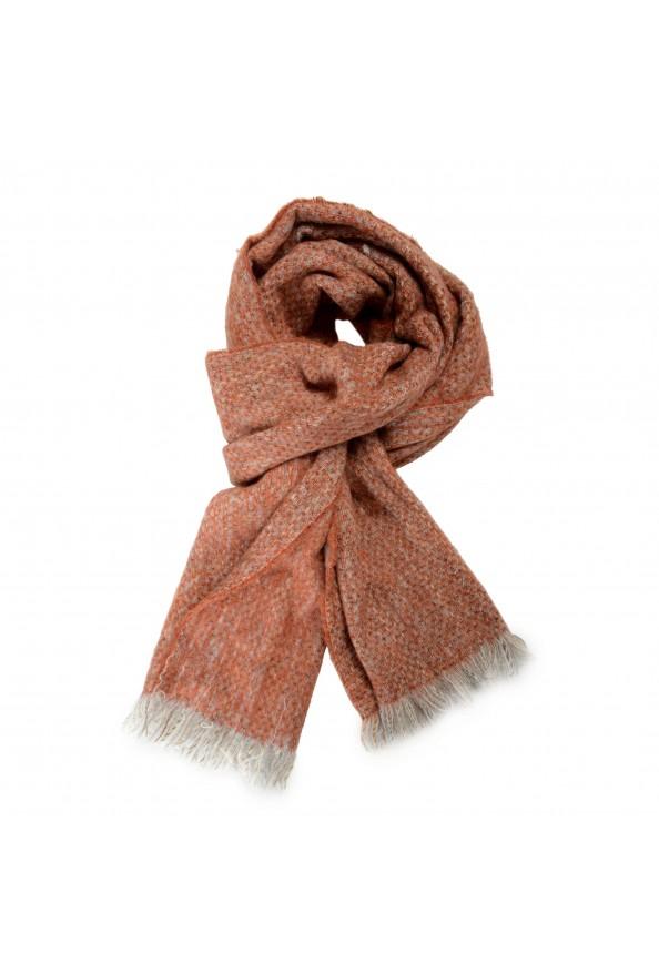 Sferra Unisex Gray &Orange Mohair Wool Scarf