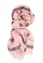 Versace Pink 100% Silk Logo Print Shawl Scarf: Picture 5