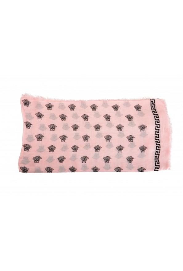 Versace Pink 100% Silk Logo Print Shawl Scarf