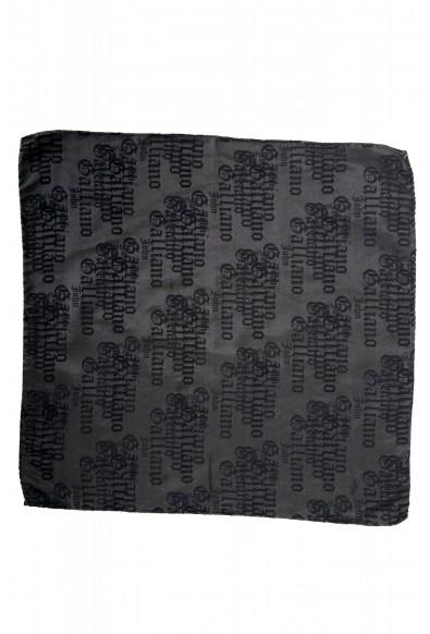 John Galliano Men's 100% Silk Logo Print Pocket Square