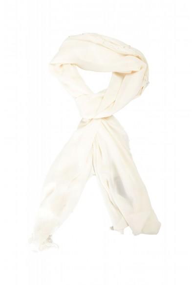 Roberto Cavalli Women's Ivory 100% Silk Embellished Scarf