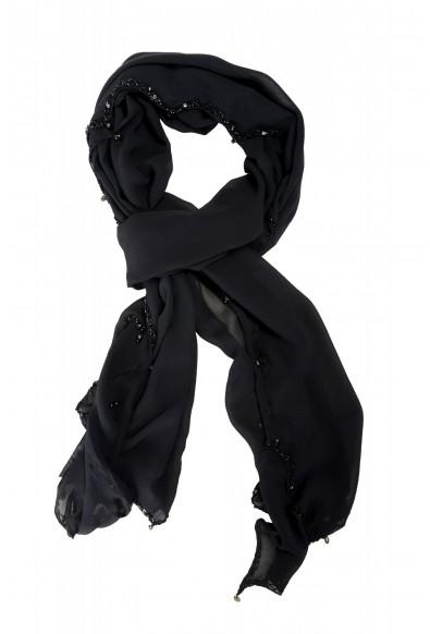 Roberto Cavalli Women's Black 100% Silk Embellished Scarf