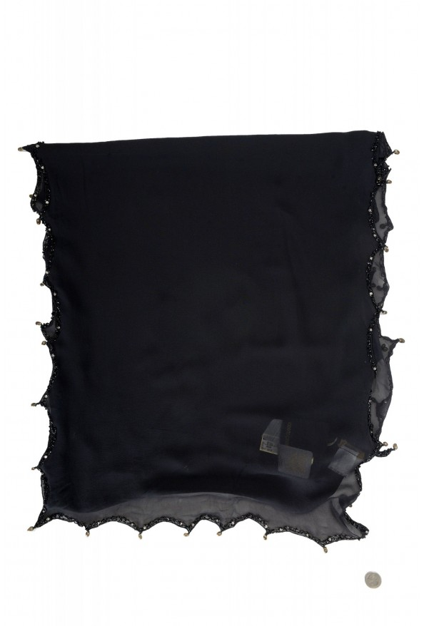 Roberto Cavalli Women's Black 100% Silk Embellished Scarf: Picture 5