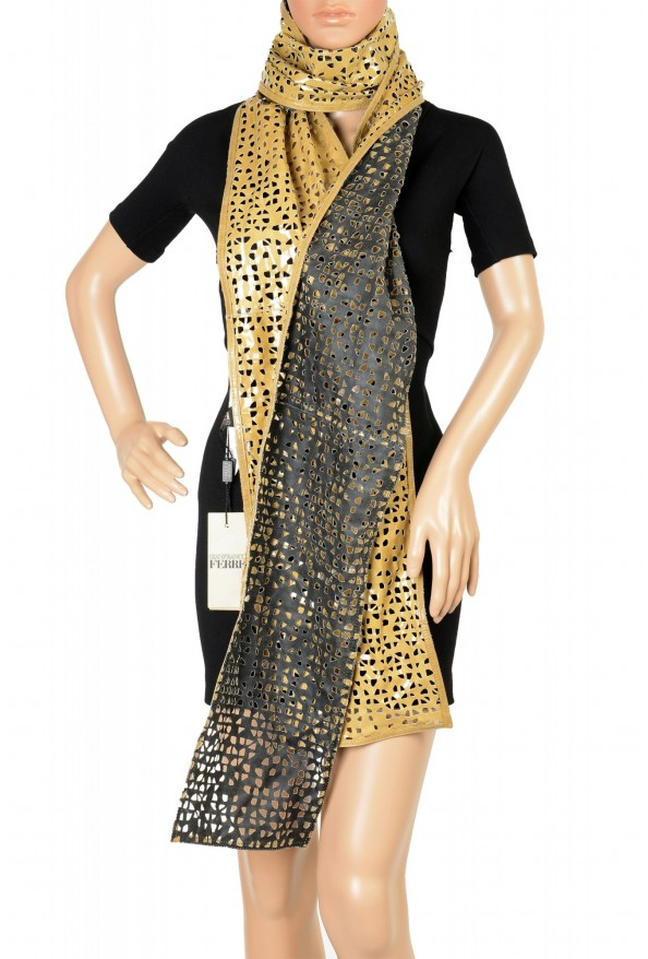 Gianfranco Ferre Women's Olive Green Perforated Leather Scarf