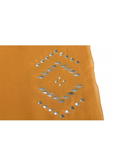 Gianfranco Ferre Women's Brown 100% Silk Metal Studs Decorated Scarf: Picture 2