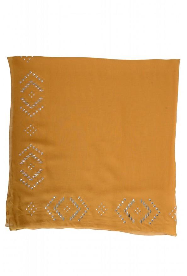 Gianfranco Ferre Women's Brown 100% Silk Metal Studs Decorated Scarf