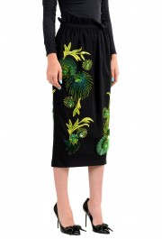 Versace Women's Black Silk Embroidered Straight Pencil Skirt: Picture 2