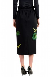 Versace Women's Black Silk Embroidered Straight Pencil Skirt: Picture 3