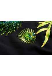 Versace Women's Black Silk Embroidered Straight Pencil Skirt: Picture 5