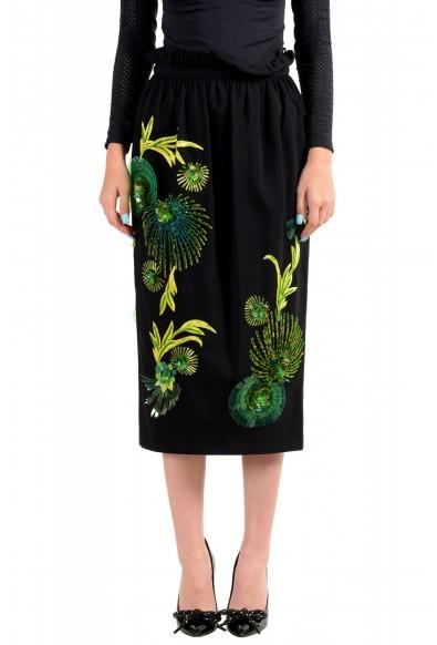 Versace Women's Black Silk Embroidered Straight Pencil Skirt