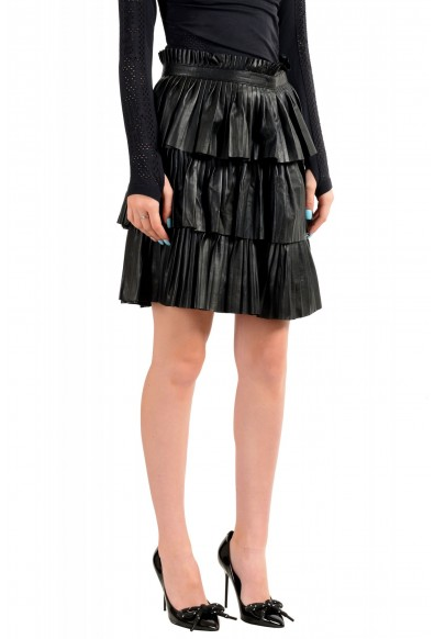 Just Cavalli Women's Black 100% Leather Ruffled Skirt: Picture 2