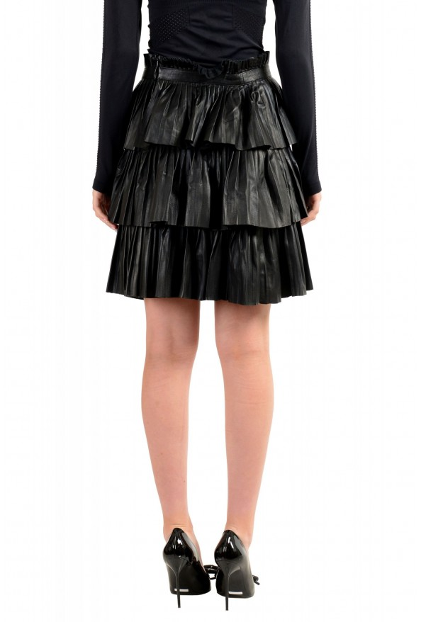 Just Cavalli Women's Black 100% Leather Ruffled Skirt: Picture 3