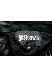Just Cavalli Women's Black 100% Leather Ruffled Skirt: Picture 4