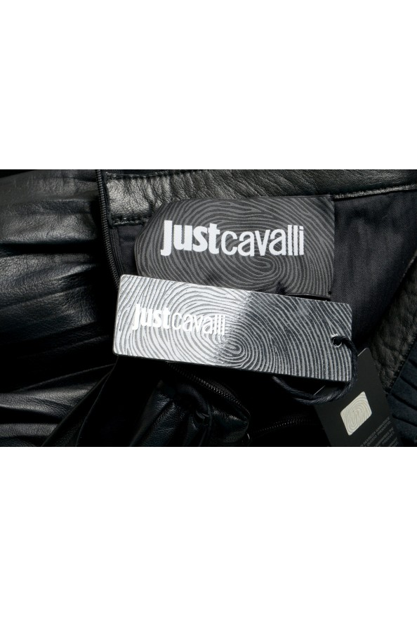 Just Cavalli Women's Black 100% Leather Ruffled Skirt: Picture 5