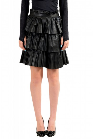 Just Cavalli Women's Black 100% Leather Ruffled Skirt