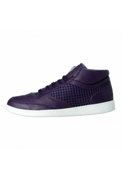 Dolce & Gabbana Men's Purple Leather Fashion Sneakers Shoes : Picture 2