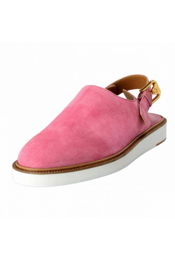 Versace Men's Pink Suede Leather Slingback Sandals Shoes