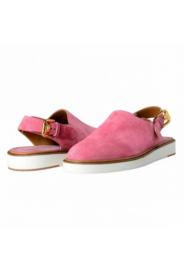 Versace Men's Pink Suede Leather Slingback Sandals Shoes: Picture 8