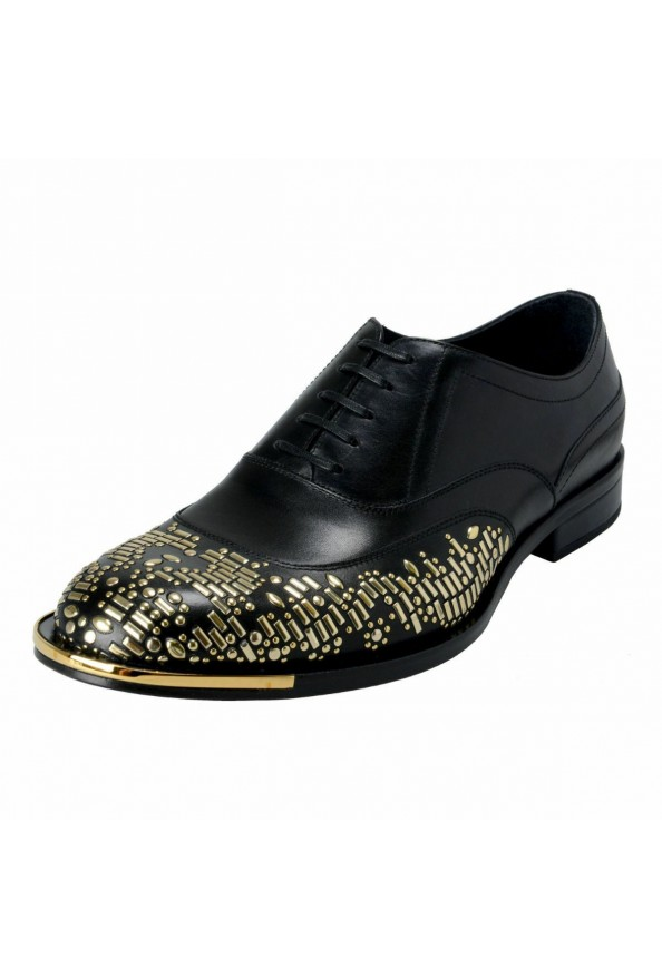 Versace Men's Black Beaded Lace Up Oxfords Shoes