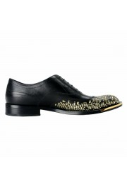 Versace Men's Black Beaded Lace Up Oxfords Shoes: Picture 4