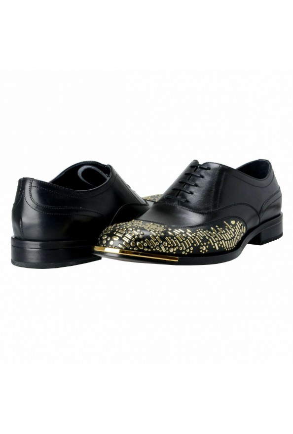 Versace Men's Black Beaded Lace Up Oxfords Shoes: Picture 8