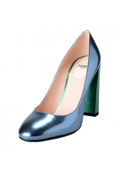 Fendi Women's Leather Metallic Blue High Heels Pumps Shoes