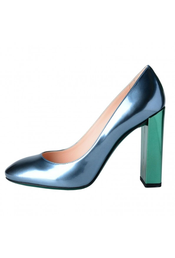 Fendi Women's Leather Metallic Blue High Heels Pumps Shoes: Picture 2