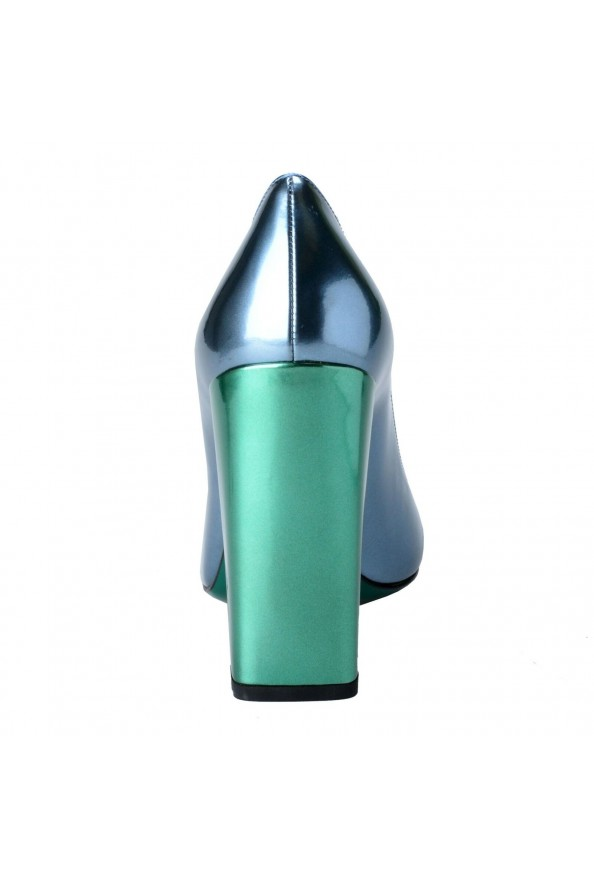 Fendi Women's Leather Metallic Blue High Heels Pumps Shoes: Picture 3
