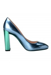 Fendi Women's Leather Metallic Blue High Heels Pumps Shoes: Picture 4