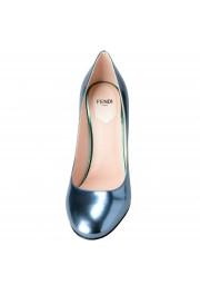 Fendi Women's Leather Metallic Blue High Heels Pumps Shoes: Picture 5