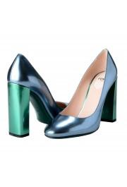 Fendi Women's Leather Metallic Blue High Heels Pumps Shoes: Picture 8