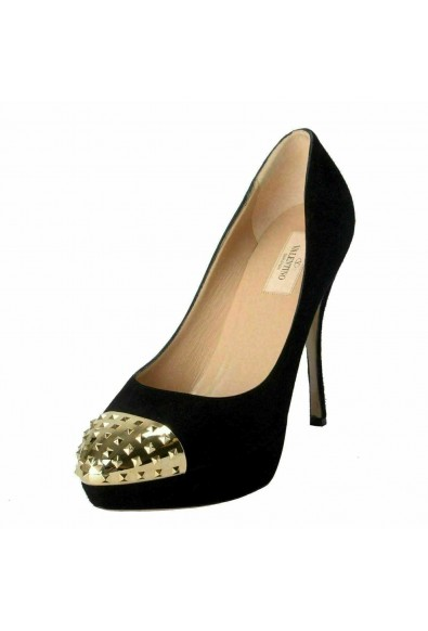 Valentino Garavani Women's Rockstud Suede High Heel Platform Shoes