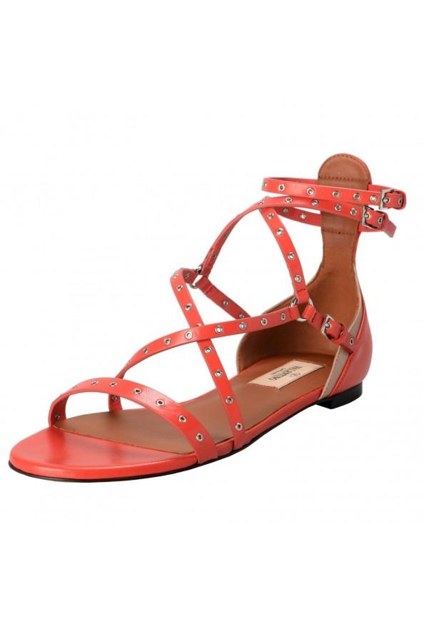 Valentino Garavani Women's Leather Orange Strappy Flat Sandals Shoes