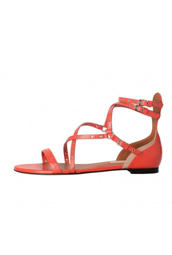 Valentino Garavani Women's Leather Orange Strappy Flat Sandals Shoes: Picture 2